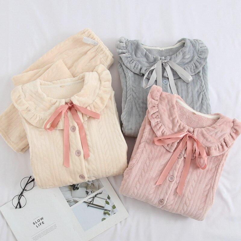 fdfklak flanela pijama para a mulher gravida 04