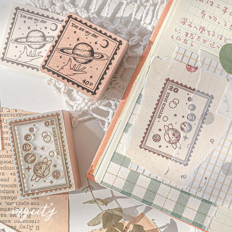 Vintage Flower Rabbit Planet Angel Decoration Stamp Wooden Rubber Stamps For Scrapbooking Stationery DIY Craft Standard Stamp