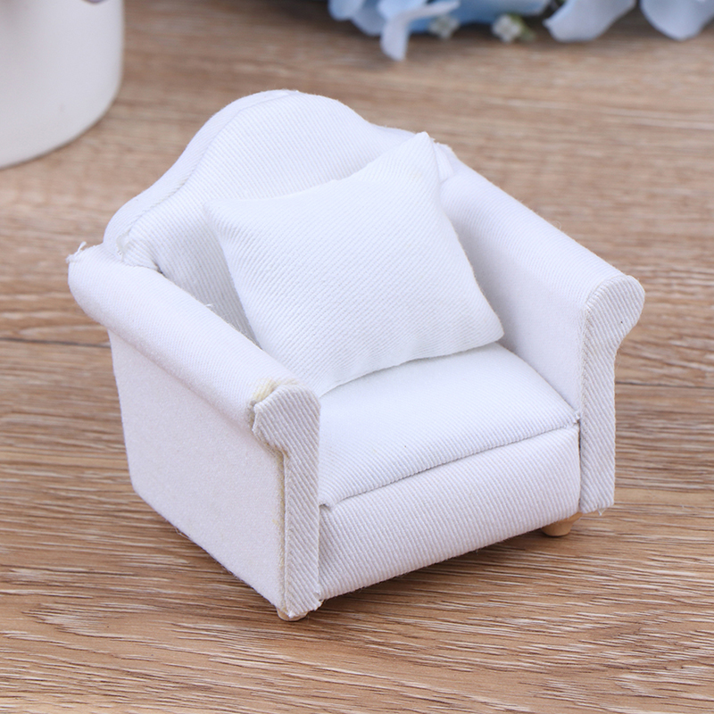 1/12 Dollhouse White Sofa With Back Cushion Mini Sofa Chair Furniture Model Toys For Doll House Decoration Miniature Accessories