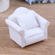 1/12, белый кукольный домик с подушкой на спине, мини-диван-стул, модель мебели, игрушки для украшения кукольного домика, Миниатюрные аксессуа...