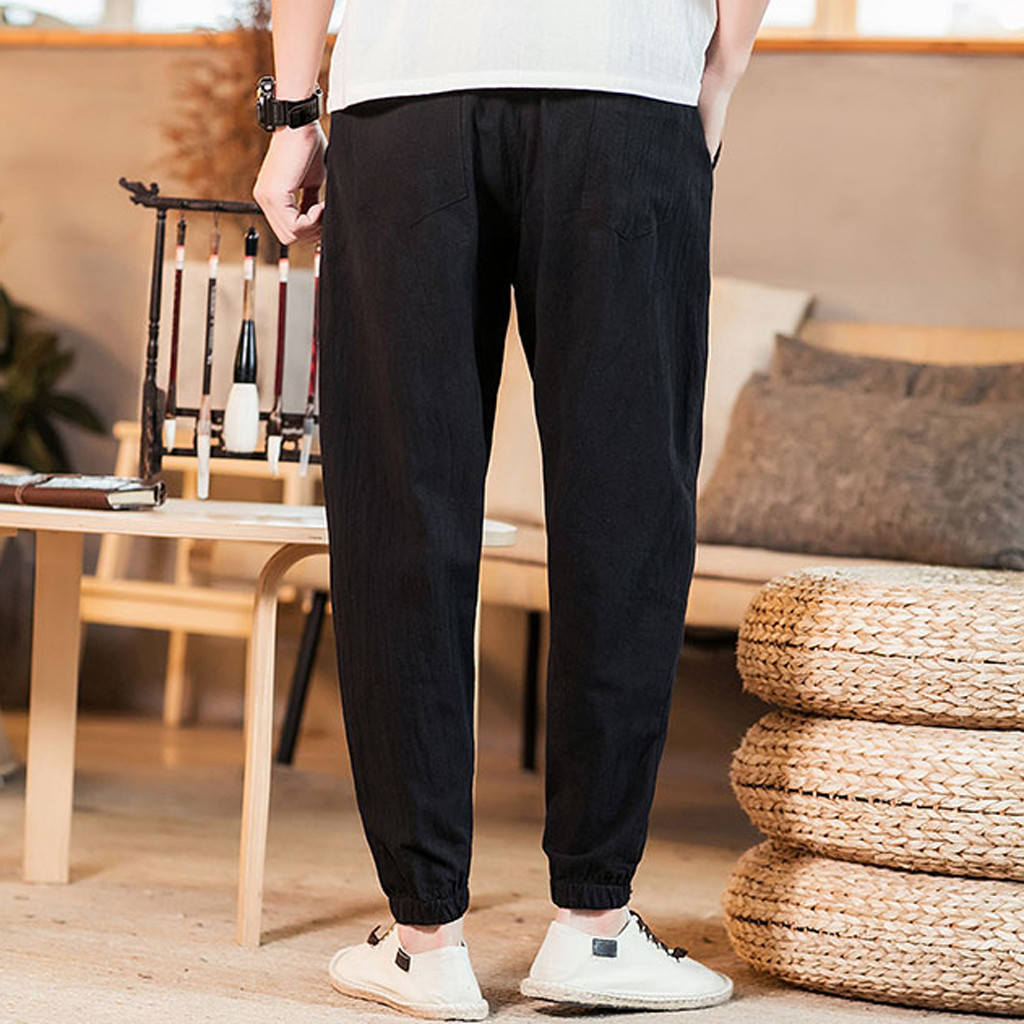 Pants Men Streetwear Pantalones Sweatpants Hip Hop Pantalon Homme Tactical Pants Spodnie Cotton Linen Pure Color New штаны Z4