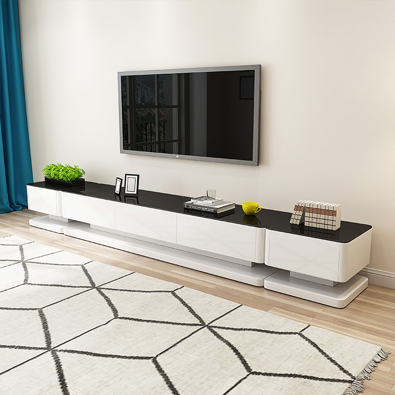 Modern Minimalist Black And White Series Teapoy Table TV Cabinet Sideboard Combination Set Of Living Room Furniture Combination