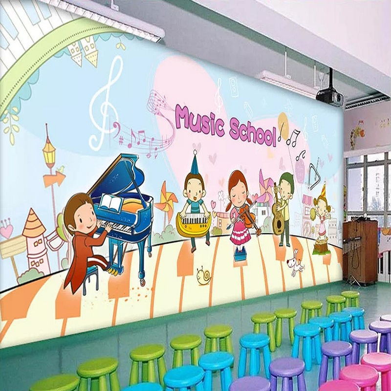Custom Large Mural 3D Wallpaper Cartoon Children's Playground Music Piano Bedroom Mural TV Back Wall Decor Deep 5D Embossed