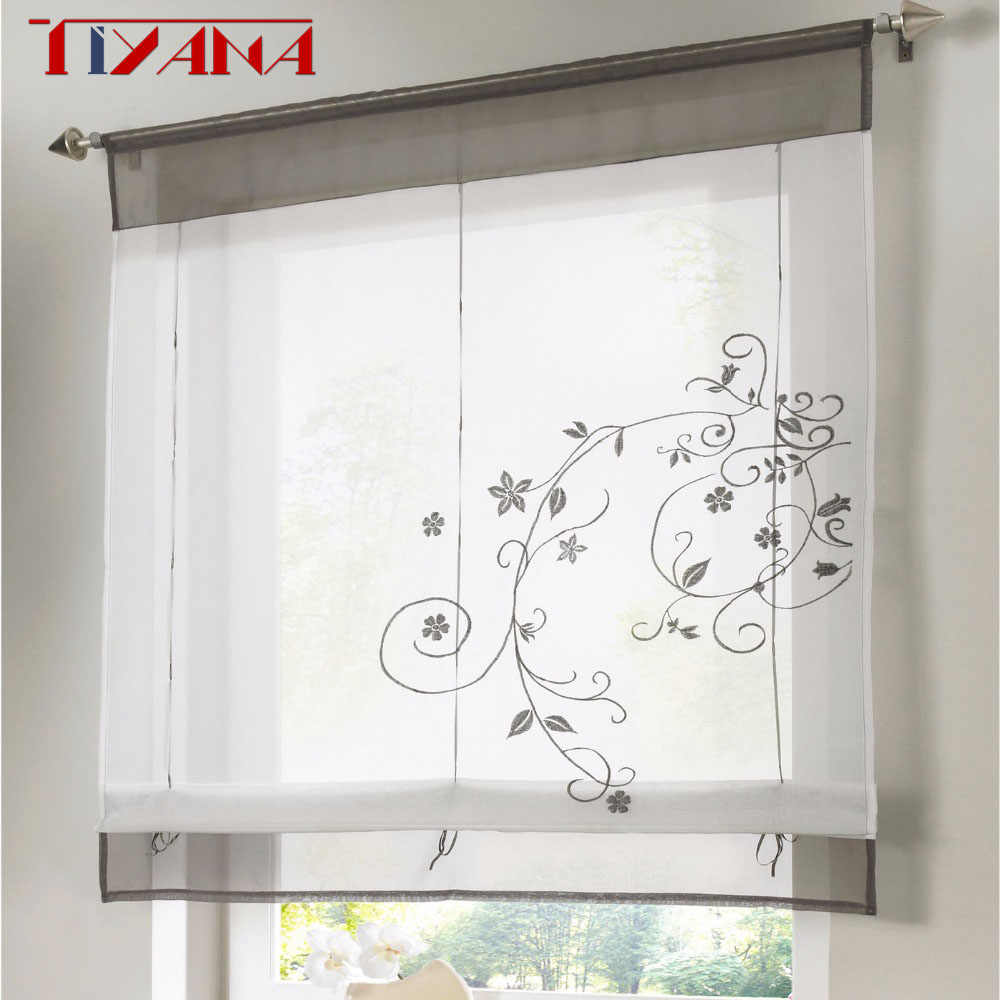 Roman Finished Curtain Embroidered Rustic Curtain Blind For Kitchen Height Liftable Gauze Small Coffee Curtain DL005&3
