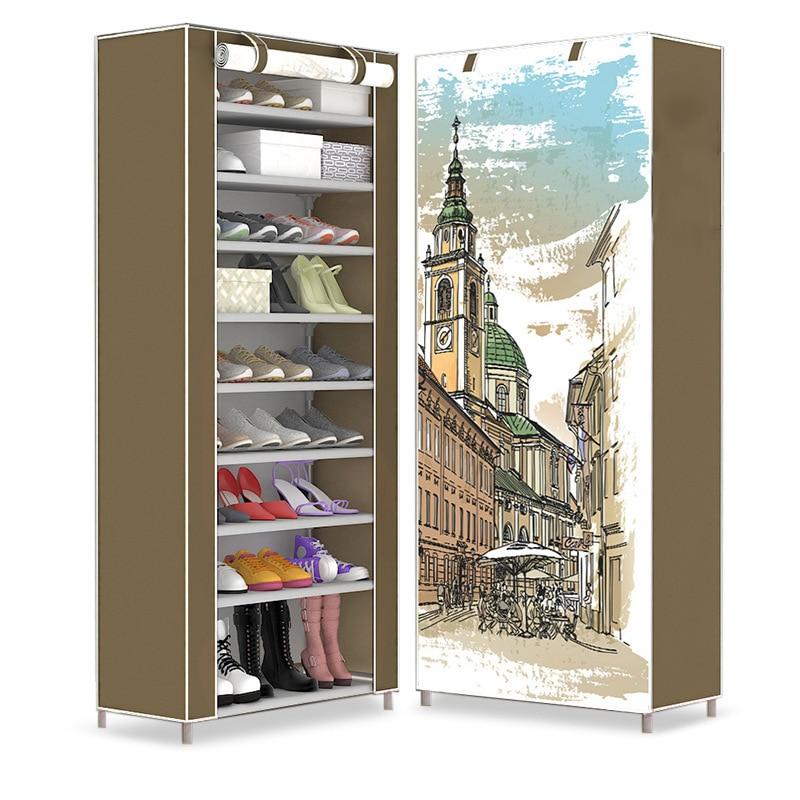 Multilayer Nonwoven Fabric Shoes Storage Shoe Rack Dustproof Home Space-saving Shoes Organizer Closet Folding Shoe Cabinet