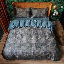 Juego de cama geométrico moderno para hombre adulto, tamaño queen king 60s algodón vintage doble textil para el hogar, funda de almohada, funda de edredón