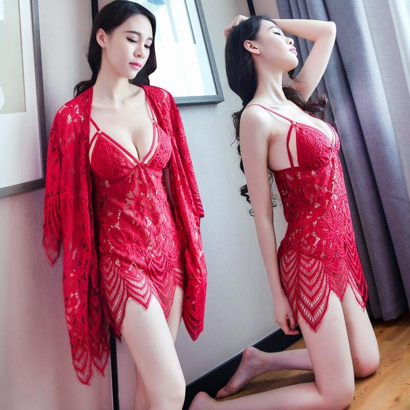 Renda Sexy roupa de dormir transparente sling sexy lingerie pijamas nightdress sexo roupa interior quente três-ponto Biquíni com Casaco para as mulheres