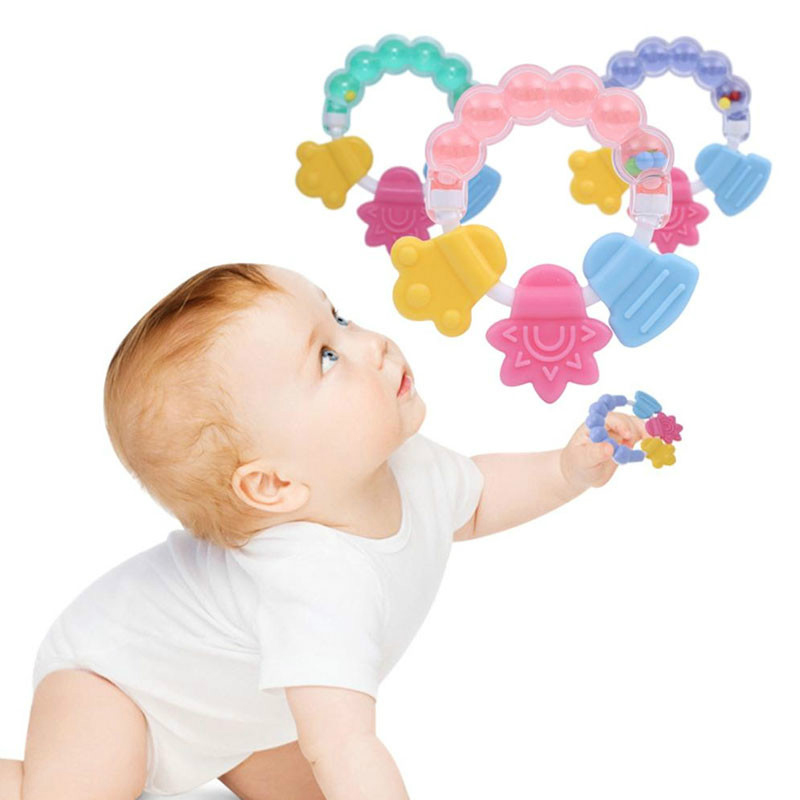 Silicone Baby Teether Educational Mobiles Toys Teeth Biting Baby Wrist Rattle