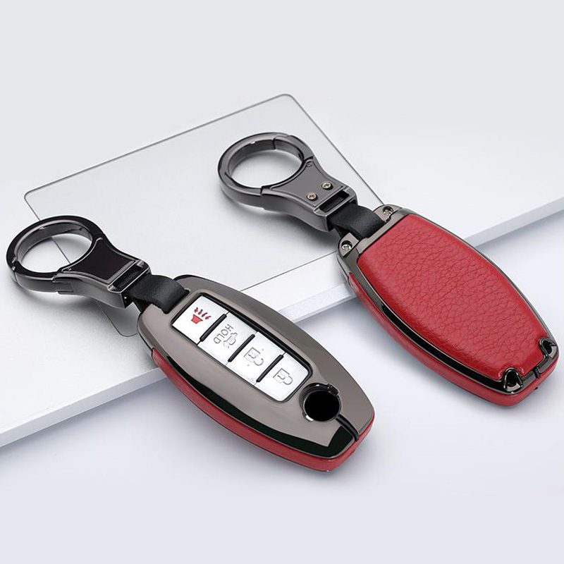 Brand New Product Metal Leather Remote Car Key Fob Cover Case Keychain for Infiniti Nissan with Gift Box Accessories-Auto
