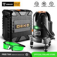 DEKO LL57/LL58 Verde di Auto-livellamento 5 Linea di 6 Punti Orizzontale e Verticale Livello Laser Verde 360 Gradi di regolazione