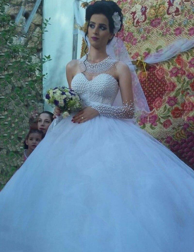 Robe De Mariage Sheer Saudi Arabic Muslim Long Sleeves Wedding Dresses Pears Beaded Ball Gown Bridal Gown Vestido De Casamento