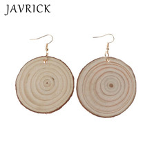 Natural Wood Slices Round Log Disc Drop Earrings Unfinish Wooden Circles Jewelry