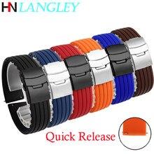 Correia de relógio de borracha de silicone 18/20/22/24mm pulseiras esportivas para samsung active