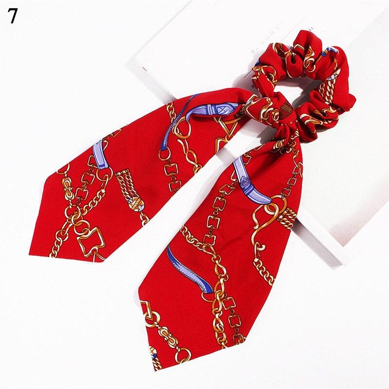 Элегантные резинки для волос с большим цветком и леопардовым принтом; эластичные резинки для волос для женщин и девочек; завязанные длинные резинки; шарф; аксессуары для волос - Цвет: Hot Sale-7