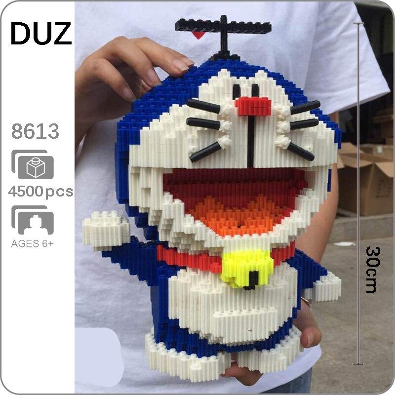 DUZ 8613 Anime Cartoon Doraemon Blue Cat Animal 3D Model DIY Mini Small Blocks Bricks Building Toy For Children 30cm Tall No Box