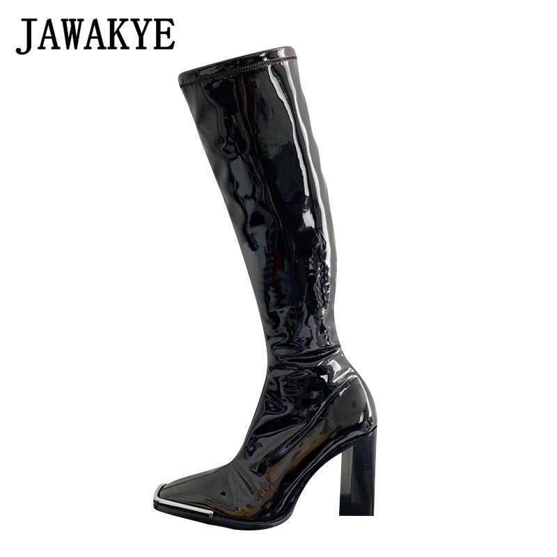 Winter Black Patent Leather Knee High
