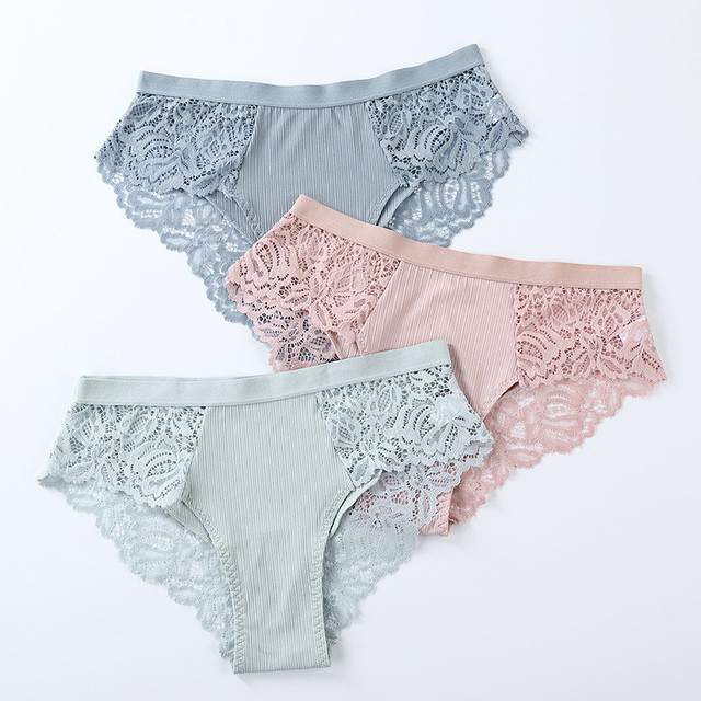 3 Pack Cotton Lace Panties Underwear