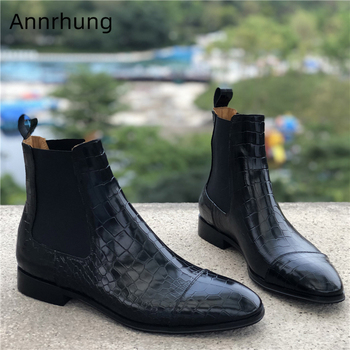 New Autumn Winter Ankle Boots Men Elastic Band Slip On Short Booties Fashion Stone Grain Pointed Toe Party Shoes Men Boots
