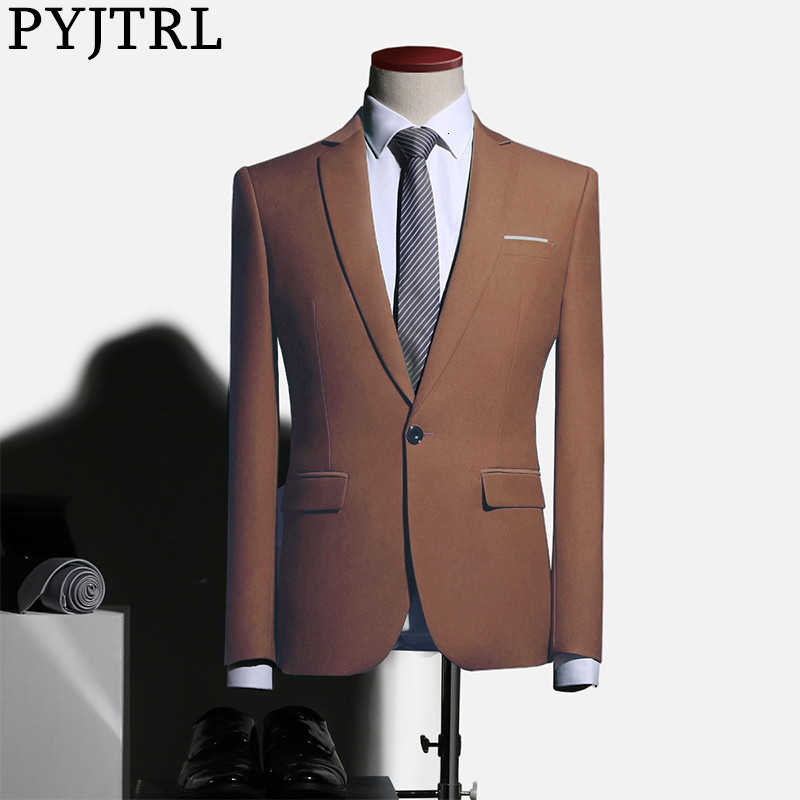 PYJTRL Mens Plus Size Wedding Groomsmen Blue Brown Green Suit Jacket Business Casual Slim Fit Blazer Masculino Blusa Masculina