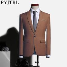PYJTRL Mens Plus Size Bruiloft Bruidsjonkers Blauw Bruin Groen Jasje Business Casual Slim Fit Blazer Masculino Blusa Masculina