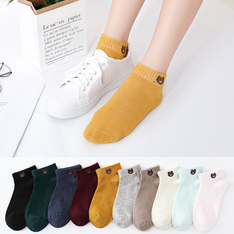 Summer Socks Women's Korean Cartoon Bear Candy Color Women's Boat Socks Cotton Shallow Mouth Non Slip Women's Boat Socks