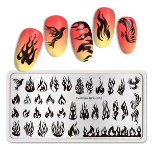 Image 5 - Geboren Pretty Fire Nail Stempelen Platen Blaze Serie Rechthoek Template Nail Art Image Plate Exotisme Stencils