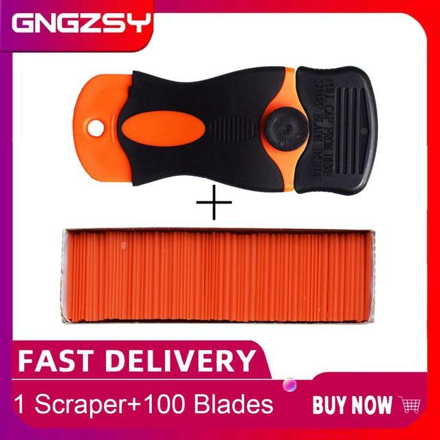 Carbon Fiber Car Tools Vinyl Car Wrap Razor Scraper+100Pcs Plastic Razor Blade Cleaning Squeegee Glue Film Sticker Remover E17+