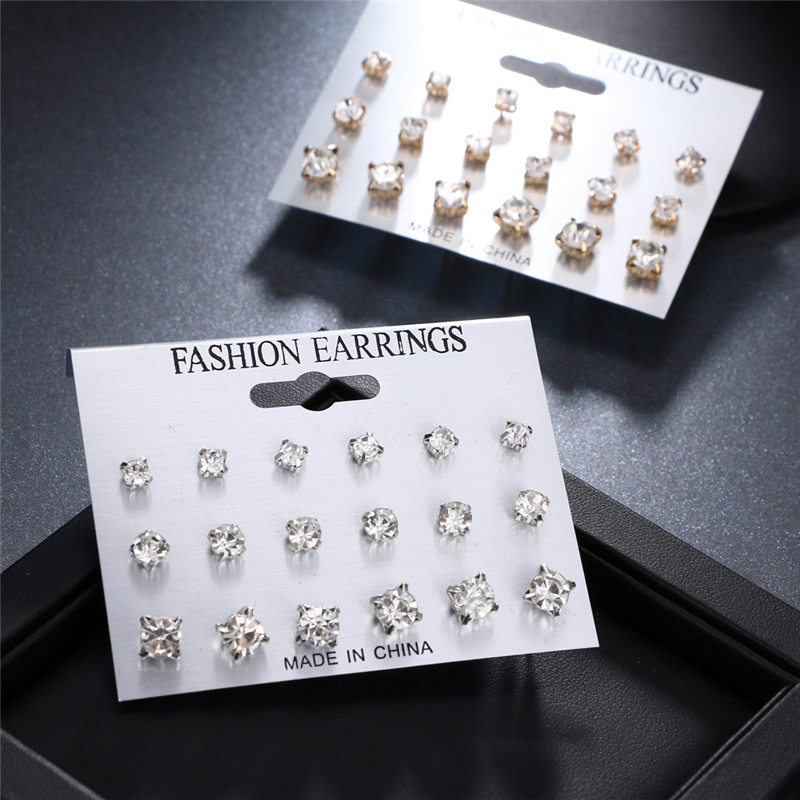 Fashion Simple Stud Earrings Set Square Geometric Earrings 2019 For Women New Rhinestone Crystal Earrings Jewelry Brinco
