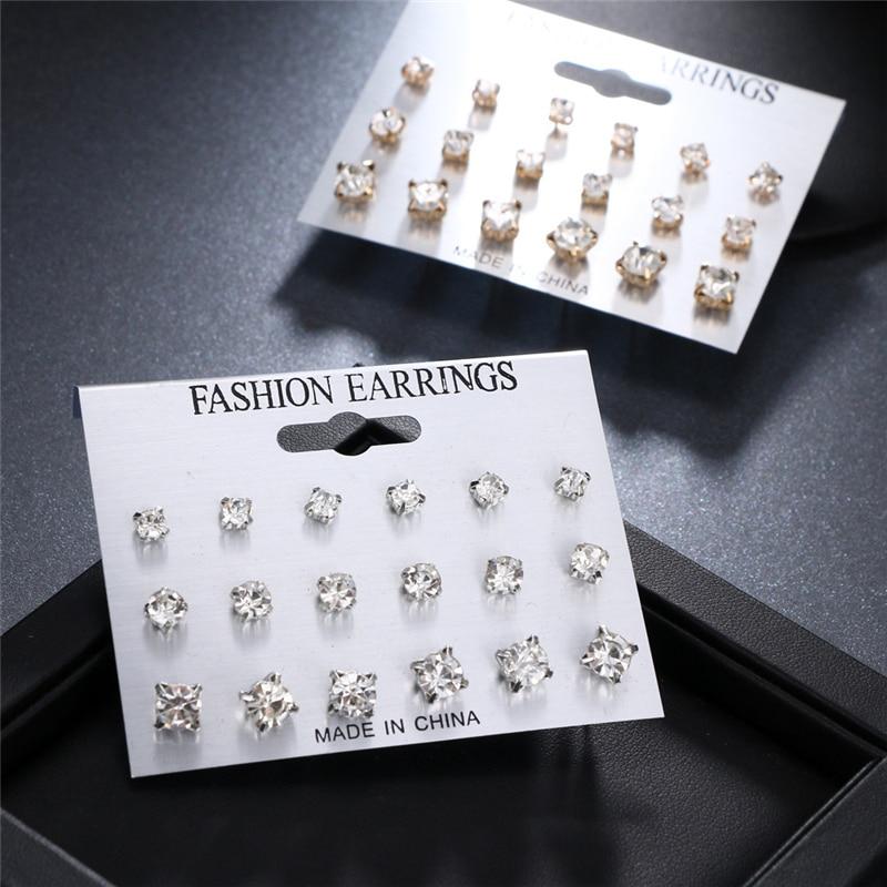 Fashion Simple Stud Earrings Set Square Geometric Earrings 2019 For Women New Rhinestone Crystal Earrings Jewelry Brinco