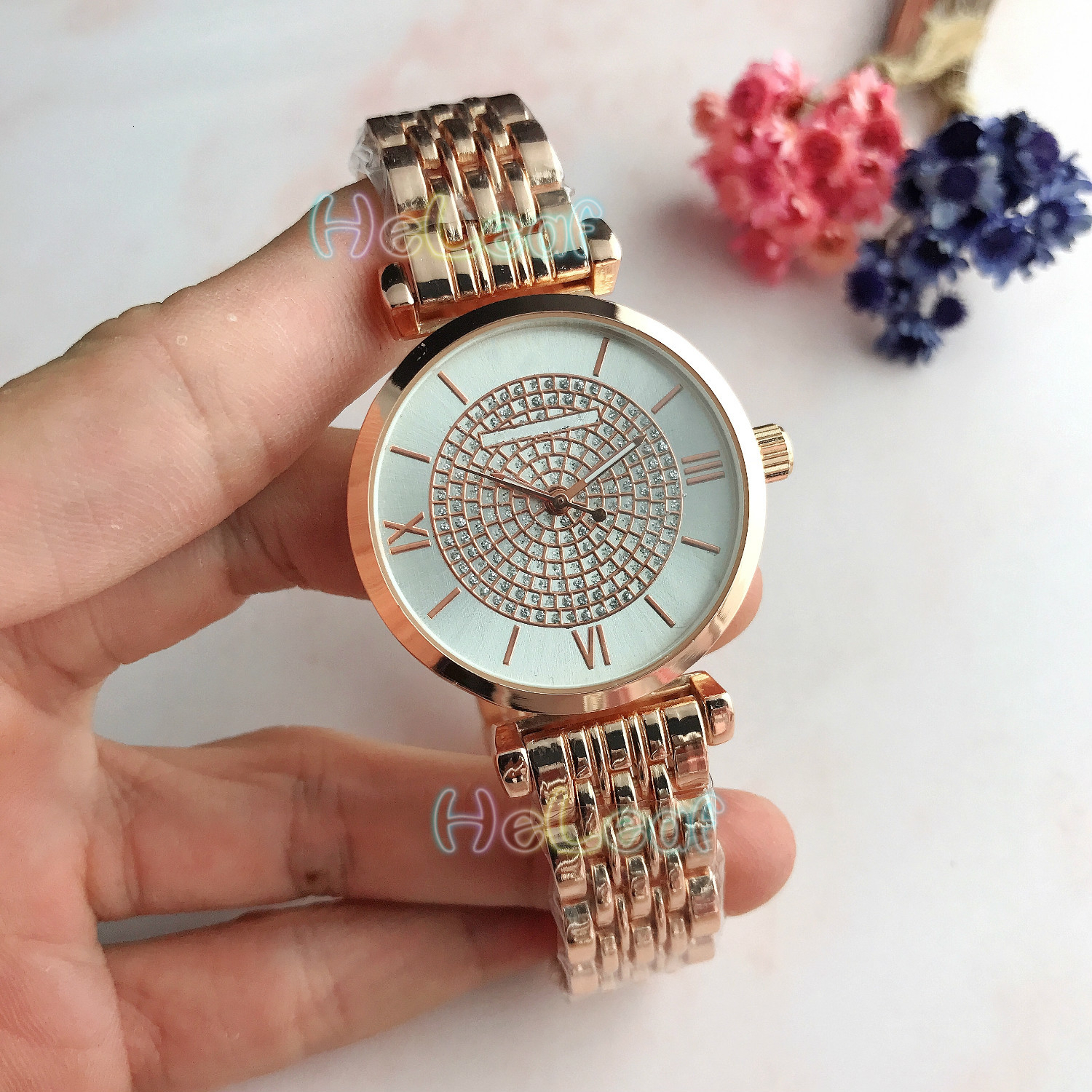 Women Watches Luxury Fashion Silver Gold Round Dial Stainless Steel Band Quartz Starry Diamond Watch Female Clock Montre Femme