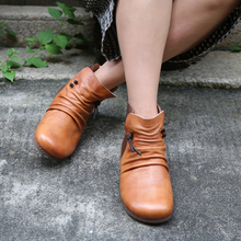 Japanese Style Handmade Genuine Leather Women Boots Soft Sole Flat Heels Autumn and Winter Casual Ankle Boots Plus Size 40-42 цена в Москве и Питере