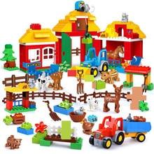 цены на Happy Farm Big Size Building Blocks Sets Happy Zoo Animals City Toys For Children Kids LegoINGs Duplo DIY Bricks Christmas Gifts  в интернет-магазинах