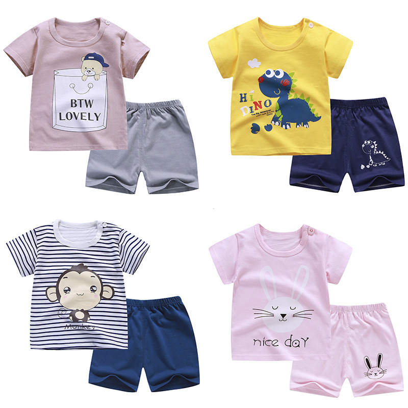 Cotton Summer Baby Soft Shorts Suit T-shirt Todder Boys And Girls Dinosaur Cartoon Cute Clothes Cheap 0-6 Years Old