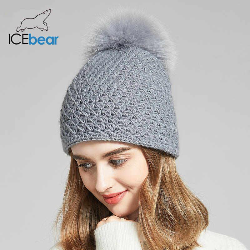 ICEbear النساء القبعات لفصل الشتاء تقليد الصوف قبعات سميكة للإناث الصلبة الألوان جديد ماركة الجماجم beanies E-MX18130FQ
