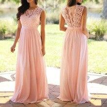 Encaje Vintage Patchwork vestido largo vestido de talla grande S-5XL Dama de Honor de boda Maxi vestido túnica mujer 2019 Vestidos rosa