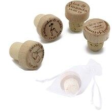 Bouchon de bouteille de vin en bois personnalisé, accessoire en liège, gravé au Laser, cadeau, décoration de fête de mariage, avec Logo dentreprise, 50pcs