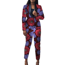 African clothes women dashiki print suits blazer+trouser fas