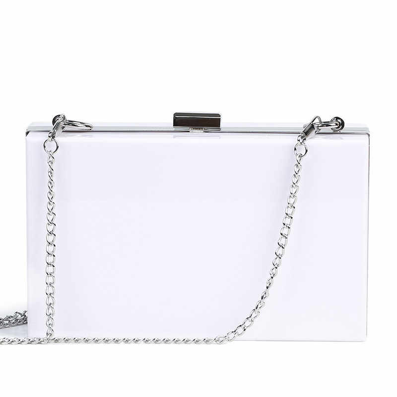 Women Shoulder Bag Acrylic Chain Box Clutch Transparent Wedding Party Purse S3