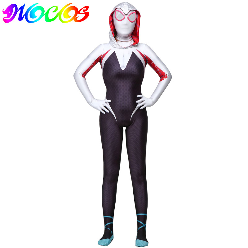 Диоко костюм паук Гвен Стэйси Косплей костюмы 3D печать взрослые дети комбинезоны для Хэллоуина Вечерние