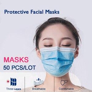 100 шт одноразовые маски для рта Прямая поставка эластичные защитные трехслойные противопыльные корейские нетканые маски для рта
