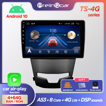 Prelingcar Android 10.0 NO DVD 2 Din Car Radio Multimedia Video Player Navigation GPS For SsangYong Korando Actyon 2014-2016 image