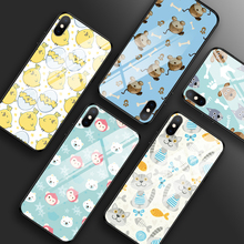 Cartoon Animal Case for iPhone 7 8 Plus 6 6s Cat And Dog Tempered Glass Cases X XR XS MAX Ultra Thin Phone