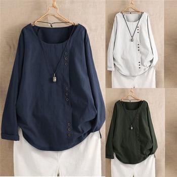 Harajuku mujeres camisetas de talla grande Vintage coreano manga larga Casual blusas inicio Zen ropa mujer señora camisas Streetwear