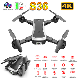 S36 Drone 4k HD Dual Camera Optical flow Quadcopter WiFi FPV RC Helicopter Gravity sensor selfie Pocket drone toy for Boy