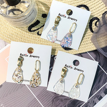 S925 Silver Needle Korean simple geometric asymmetric earrings temperament 100 fashion transparent acrylic