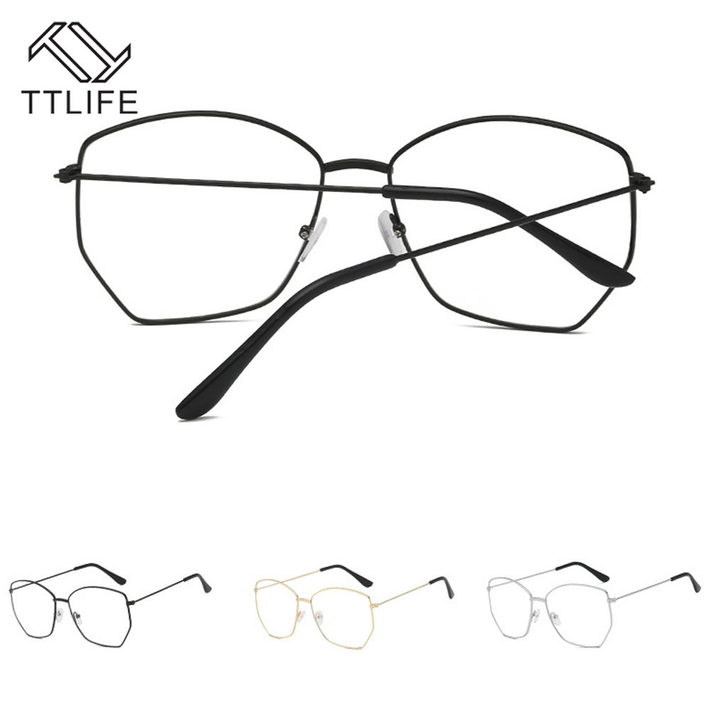 TTLIFE Fashion Metal Irregular Polygon Glasses Frame Retro Art Flat Mirror Optical Glasses Women Clear Lens Glasses YJHH0331