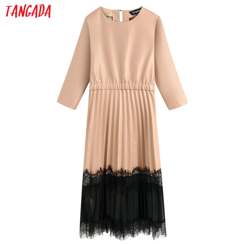 Tangada Women Beige Faux Leather Dress With Lace Patchwork Long Sleeve 2020 Spring Females Midi Dresses Vestidos BE315