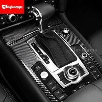 For Audi Q7 3D Carbon Fiber Stickers Decorative Cover trim Strip for Car Control Gear Shift Panel Q7 Interior accessories