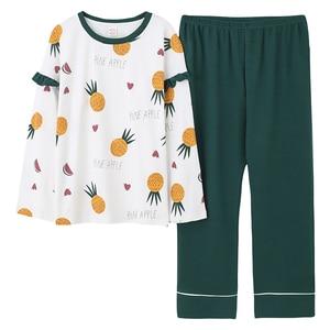 Image 3 - Plus Size 5XL Sleep Lounge Pajama Long Sleeve Top + Long Pant Woman Pajama Set Cartoon Print Pyjamas Cotton Sleepwear For Women
