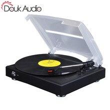 Douk audio hi fi 3 단 스테레오 턴테이블 lp 비닐 레코드 플레이어/pc usb 녹음/aux